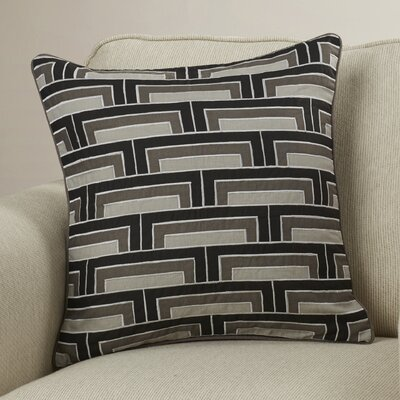 Balard Linen Square Throw Pillow Size: 22 H x 22 W x 4 D, Color: Black/Gray/Ivory