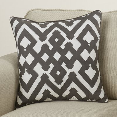 Belford Large Zig Zag Square Linen Throw Pillow Size: 18 H x 18 W x 4 D, Color: Charcoal/Ivory