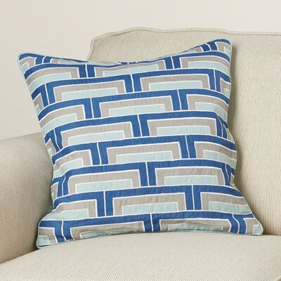 Balard Linen Throw Pillow Size: 18 H x 18 W x 4 D, Color: Cobalt/Mint/Gray/Ivory