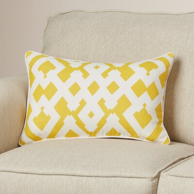 Mccarty Large Zig Zag Linen Lumbar Pillow Color: Sunflower/Ivory