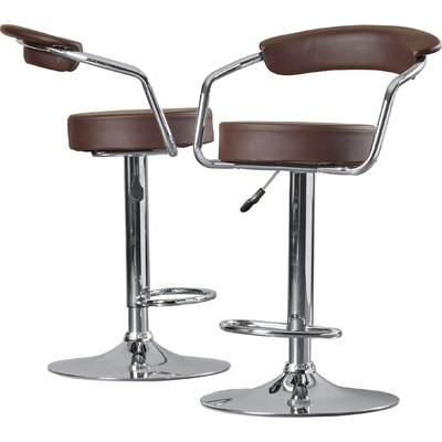 Adjustable Height Swivel Metal Bar Stool (Set of 2) Upholstery: Brown