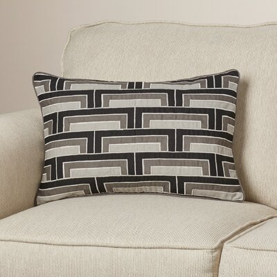 Balard Linen Lumbar Pillow Color: Black/Gray/Ivory