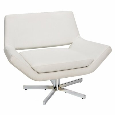 Matt Swivel Armchair Seat: Normal, Upholstery: White Faux Leather