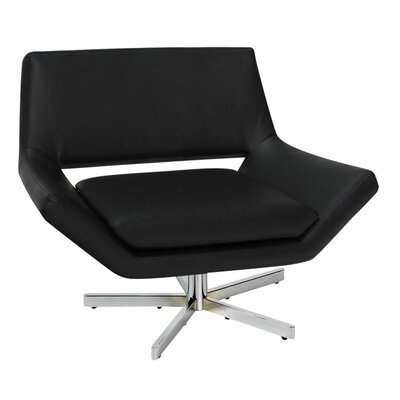 Matt Swivel Armchair Upholstery: Black Faux Leather, Seat: Normal