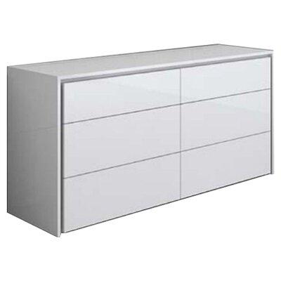 Erwin 6 Drawer Dresser Finish: White High Gloss
