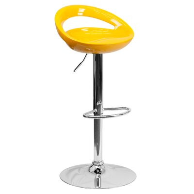 Tyson Adjustable Height Swivel Bar Stool Seat Color: Yellow