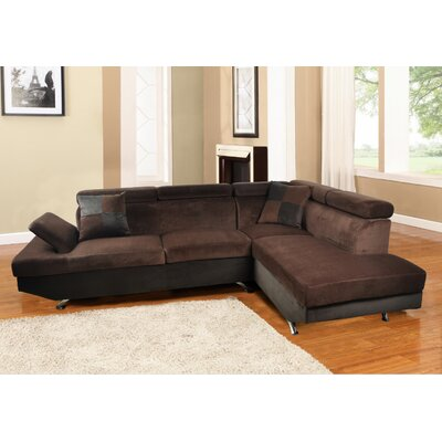 Brisson Modern Sectional Orientation: Left Hand Facing, Upholstery: Dark Bown/Chocolate