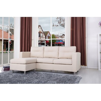 Clarence Reversible Sectional Upholstery: Beige