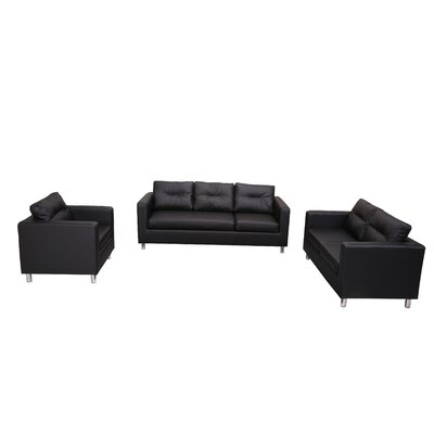 Clarence 3 Piece Living Room Set Color: Black