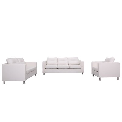 Clarence 3 Piece Living Room Set Color: White