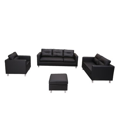 Clarence 4 Piece Living Room Set Color: Black