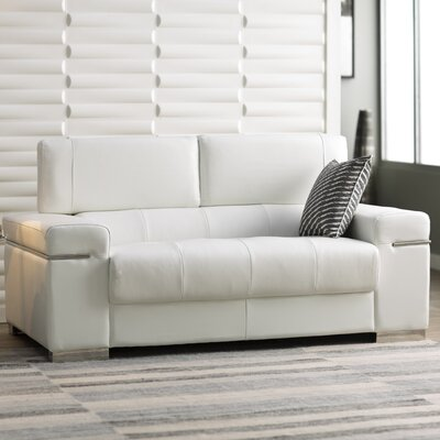 Orlando Leather Loveseat Upholstery: White