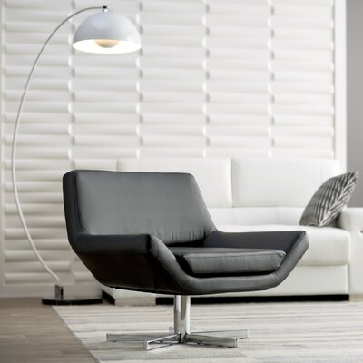 Matt Swivel Armchair Upholstery: Black, Seat: Wide
