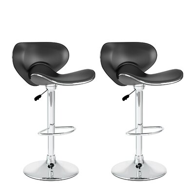 Barber Adjustable Height Swivel Bar Stool Upholstery: Black
