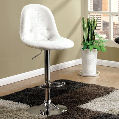 Styx Adjustable Height Swivel Bar Stool Upholstery: White