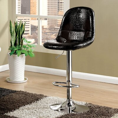 Styx Adjustable Height Swivel Bar Stool Upholstery: Black