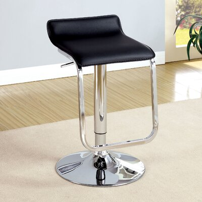 Tabit Adjustable Height Swivel Bar Stool Upholstery: Black