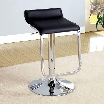 Rodney Adjustable Height Swivel Bar Stool Upholstery: Black