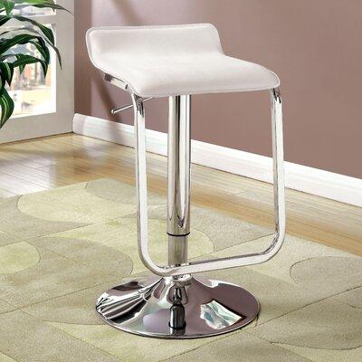 Rodney Adjustable Height Swivel Bar Stool Upholstery: White