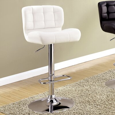 Carlos Adjustable Height Swivel Bar Stool Upholstery: White