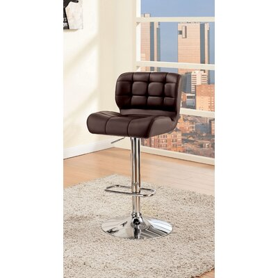 Ohboke Adjustable Height Swivel Bar Stool Upholstery: Brown