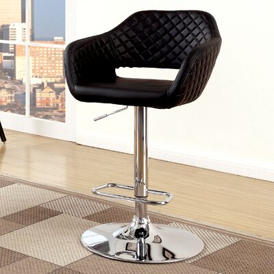 Pyxis Adjustable Height Swivel Bar Stool Upholstery: Black