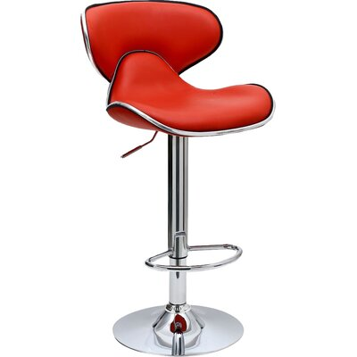 Pablo Adjustable Height Swivel Bar Stool Upholstery: Red