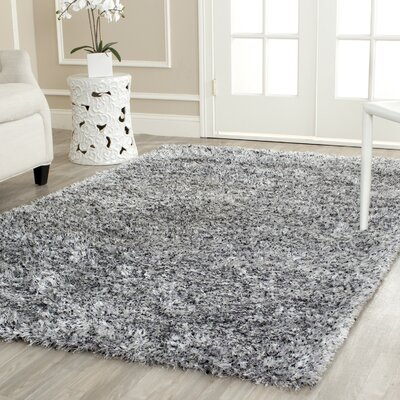Kenneth Gray/Black Shag Area Rug Rug Size: Square 7