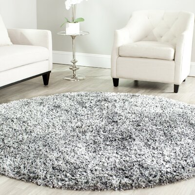 Kenneth Hand-Tufted Gray/Black Area Rug Rug Size: Round 7