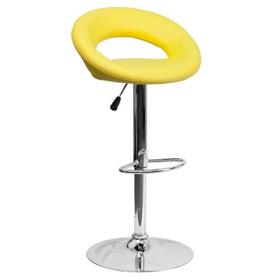 Timothy Adjustable Height Swivel Bar Stool Upholstery: Yellow