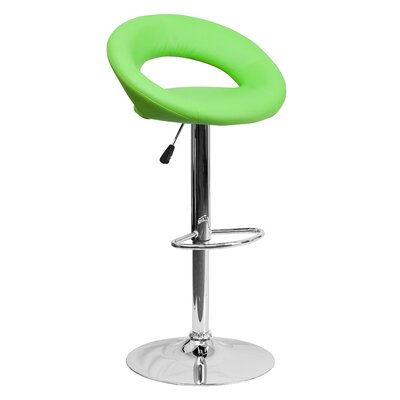 Peralta Adjustable Height Swivel Bar Stool Upholstery: Green