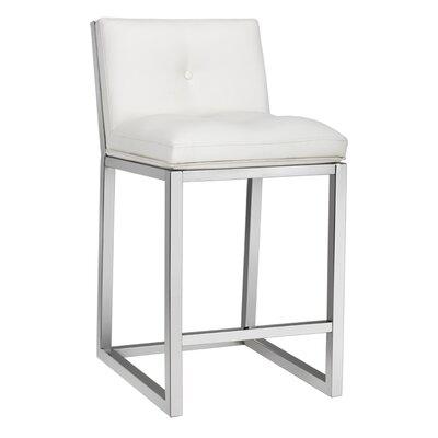 Wade Logan Roreti 26 Bar Stool With Cushion Upholstery White Bar