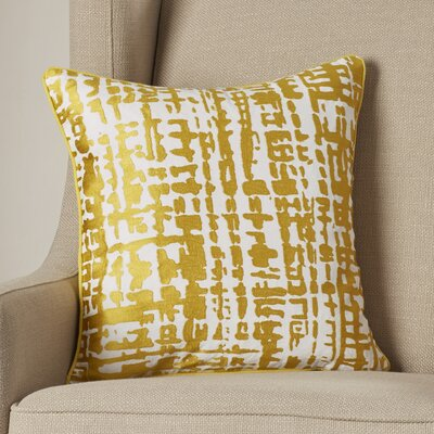 Mack Down Throw Pillow Size: 18 H x 18 W x 4 D, Color: Gold/Ivory