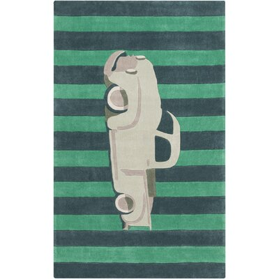 Cherish Hand-Tufted Green/Teal Car Area Rug Rug size: 8 x 11