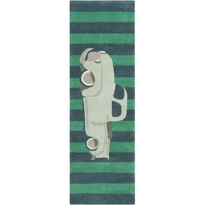 Cherish Hand-Tufted Green/Teal Car Area Rug Rug size: Runner 26 x 8