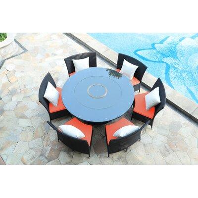 Tony 7 Piece Dining Set with Cushion Upholstery: Orange