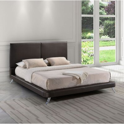 Broomes Upholstered Platform Bed Size: King, Color: Espresso