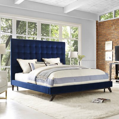 Courts Upholstered Platform Bed Size: Queen, Color: Navy Velvet