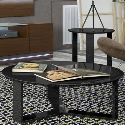 Emiliah 2 Piece Coffee Table Set Finish: Black Gloss