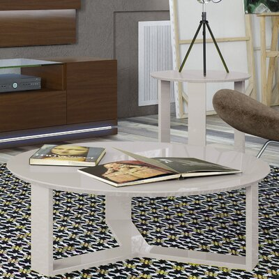 Emiliah 2 Piece Coffee Table Set Finish: Off White