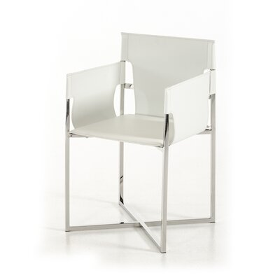 Wesley Modern Eco-Leather Arm Chair Upholstery: White
