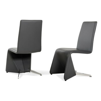 Clower Contemporary Leather Upholstered Dining Chair Upholstery: Black