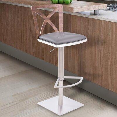 Adjustable Height Swivel Bar Stool Upholstery: Gray