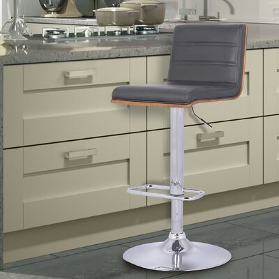 Branch Adjustable Height Swivel Bar Stool Upholstery: Gray