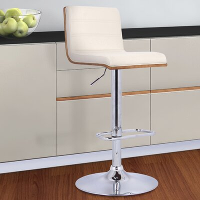 Branch Adjustable Height Swivel Bar Stool Upholstery: Cream