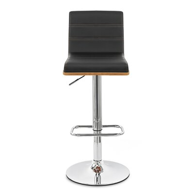 Branch Adjustable Height Swivel Bar Stool Upholstery: Black