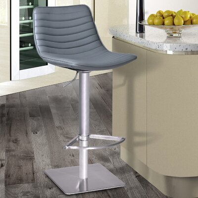 Buzzell Adjustable Height Swivel Bar Stool Upholstery: Gray