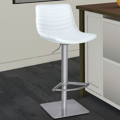 Buzzell Adjustable Height Swivel Bar Stool Upholstery: White