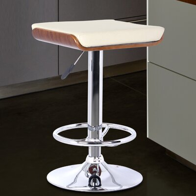 Bray Adjustable Height Swivel Bar Stool Upholstery: Cream