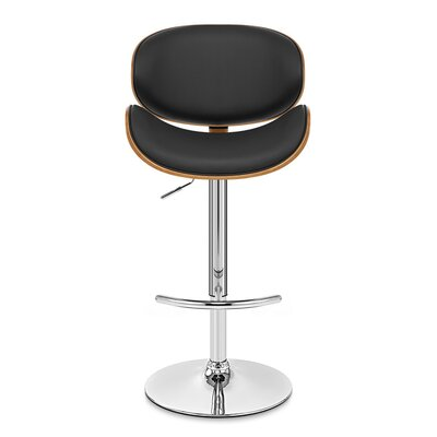 Brennan Adjustable Height Swivel Bar Stool Upholstery: Black